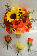 17 Piece Package Silk Flower Wedding Bridal Bouquet Sets YELLOW BURNT ORANGE