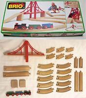 BRIO #33131 Big Wooden Railway Sydney Suspension Bridge Train Set 100% Complete