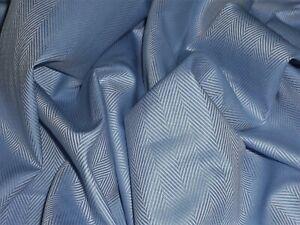 ENGLISH FINE COTTON SHIRTING-HERRINGBONE-BLUE- DRESS FABRIC -FREE P+P (UK ONLY)