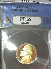 2001-S Jefferson Nickel PF 69 DCAM 6 Steps ANACS