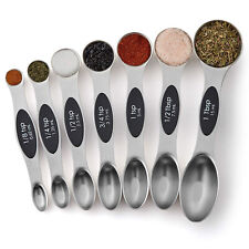 Chef Magnetic Measuring Spoons Set, Dual Sided, Stainless Steel, Fits in Sp