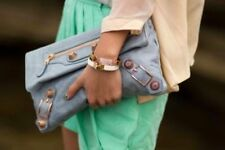 Balenciaga Baby Blue Clutch with Studs Rivets Detail