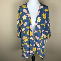 Lularoe Lindsay Kimono Top Size Large Floral Blue Yellow Pink NWT
