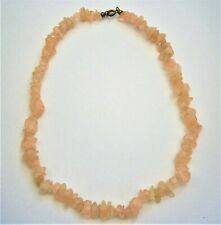 A99*) Rose Quartz pink agate stone chip bead necklace