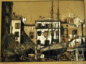 """Lionel Barrymore Framed Etched Gold Foil Print """"Little Boatyard"""" Venice, CA"""