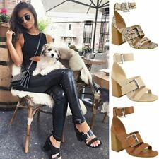Womens Ladies Sandals Block High Heels Strappy Summer Buckle Ankle High Shoes