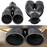 2.5'' Car Inlet Dual Rear Muffler Exhaust Tip Tail Pipe Outlet Titan Black Pro
