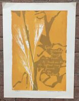 Vintage 60s Harvest Wheat God Screen Print Art Modern Wall Hanging Signed