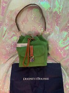 Dooney & Bourke Green Marlowe Drawstring Bucket Purse Leather NWT