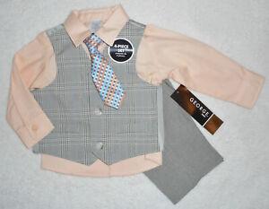 HOCHZEIT TAUFE 💙 Jungen Anzug Set 4tlg 💙festlich💙 KRAWATTE WESTE HEMD  beige
