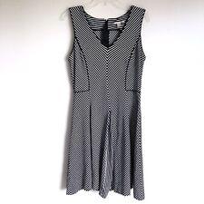 Banana Republic Striped Dress Sz 14 Black White Sleeveless