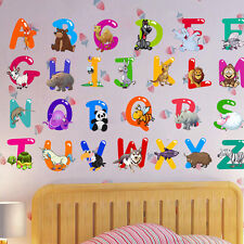 26 Animals Alphabet Wall Decal Removable Stickers Educational Decor Kids Cute