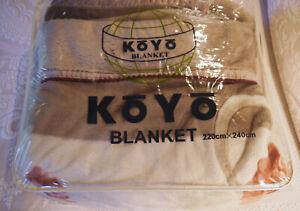 KOYO SENSHOKO LTD, OSAKA, JAPAN - MINK BED BLANKET / KING SIZE / TAN / EXCELLENT