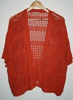 TU Women's Casual Terracotta Short Sleeve Open Knitted Bolero Shrug Top Size 22