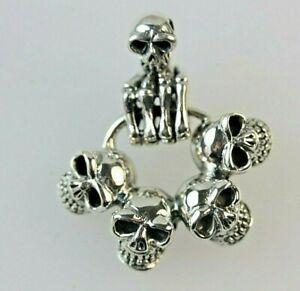 Gothic Skull Skeleton Pendant Sterling Silver *15 grams
