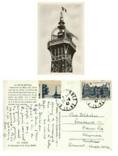 "Paris ""La Sommet de la Tour Eiffel Tower"" RP card USED 1947 with tied Cinderella"