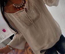 Seide 42 44 Bluse Beige Shirt Tunika Blogger Trend Pailletten Italy Glitzer B22