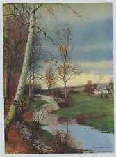 """Vintage Print  George Howell Gay Cottage & Birch trees Birches """"The Meadow Brook"""