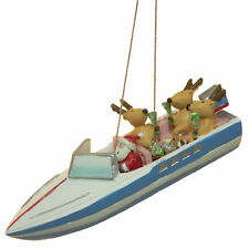 Nautical Christmas Decoration - Santa and Reindeer In Party Boat Ornament