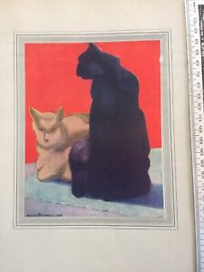 Vintage C 1918 tipped in colour cat print by Horace Brodzky: cubist, monumental