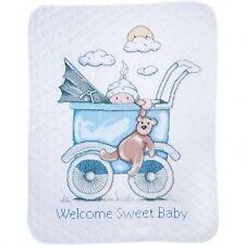 Baby Boy Pram Cot Quilt Stamped Cross Stitch Kit Tobin T21744