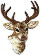 DEER HEAD w/ANTLERS Iron On Patch Forest Animal Buck
