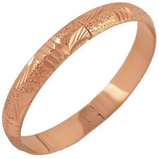 Patterned 9K Rose Gold Filled Womens Bangle Bracelet,Z1075