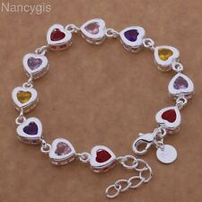 Gorgeous 925 Silver Multicolour Crystal Heart Party Sweet Romantic Gift Bracelet