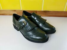 ASOS Ladies Green Tassel Front Buckle Loafers Size 7 Office Brogues Blogger VGC