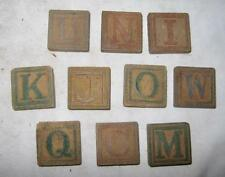 10 Antique Or Vintage Child Childrens Wooden Alphabet Blocks O2 AS IS INCOMPLETE