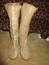FABULOUS JIMMY CHOO GOLD LEATHER FUR LINED TALL BIKER BOOTS 38 8 LLQQK!!