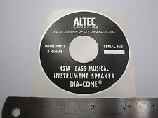 "ALTEC 421A Horn Loudspeaker Driver  ""DECAL"" New!"