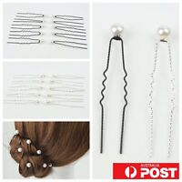 20pc/ Faux Pearl Grooved Styling Hair Fork Grip Pin Hairpin Wire Bridal Wedding