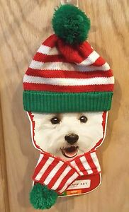 Holiday Time Dog Red/White Striped Cuff Hat & Scarf Set w/Green Trim & Poms