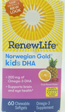 Renew Life Norwegian Gold Kids Fish Oil - DHA, Omega-3 60 Chewable Softgels