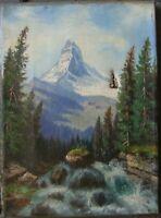 ::Gemälde Matterhorn Schweiz von Hippolyte Roux geb.1852 Saint Euphenie antik