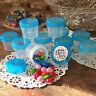 28 Plastic Jars 1oz Containers Aqua Caps Party Favors candy nuts DecoJars 4304 *