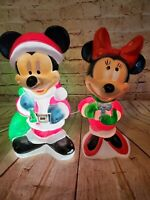 "Mickey & Minnie Mouse Table-Top 17"" Blow Mold Santa's Best Christmas"