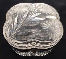 Antique American Brilliant Cut Glass Crystal Quatrefoil Clover Dresser Box