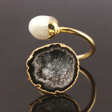 AAA+++ Quality Black Crystal Geode Druzy Keshi Pearl Gold Plated Adjustable Ring