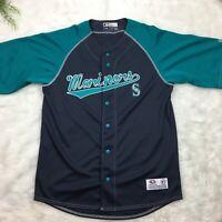 Seattle Mariners Jersey True Fan MLB Baseball Blue Size Medium. Button Front EUC