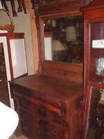 Primitive Antique 1800's Large 7 Ft. Walnut Dresser with Mirror, Carved Original