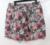 7 Diamonds Men's Drawstring Printed Shorts Charcoal Floral