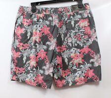 7 Diamonds Men's Drawstring Printed Shorts Charcoal Floral