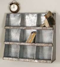 New Large Divided Tin Wall Shelf -Organizer in Distressed Metal