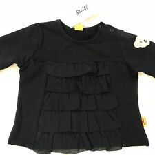 """Steiff Bébé Fille Chemise à Volants Noir - Taille 56CM/2M """" Neuf avec Étiquettes"""