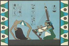1977 RITUAL DANCER & HARPIST Tutankhamen Mill Notes Postcard