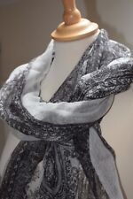 Etnika Scarf Black Cream Fabric Patterned Scarf Accessory Handmade in India SALE