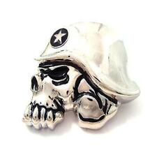 Skull Head Skeleton Men Belt Buckle Famous Star Troop Military Soldier Silver