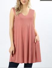 Zenana Outfitters 1X Stretch Jersey Sleeveless Trapeze Pocket Tunic Top Rose